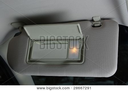 Sun visor mirror in a car