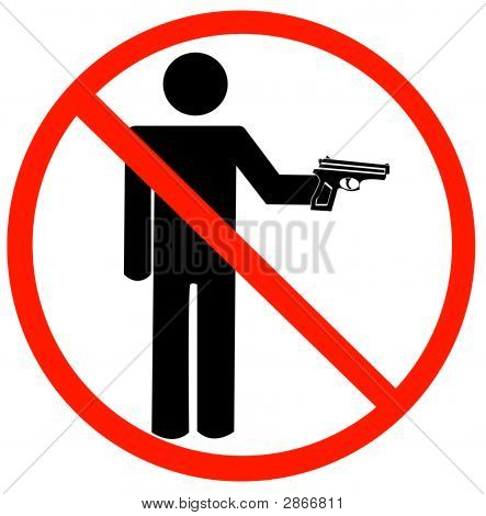 Stick Man Holding Hand Gun W Not Allowed