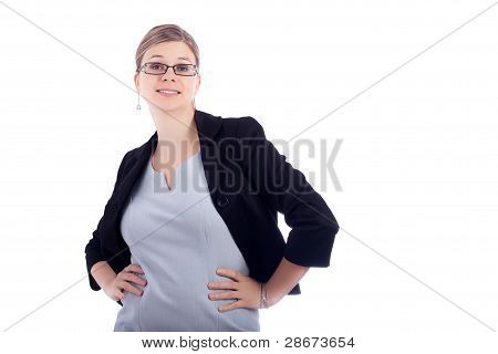 Funny Smiling Business Woman