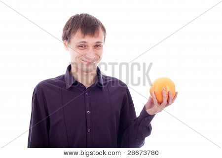 Man Grimace Holding Sour Fruit