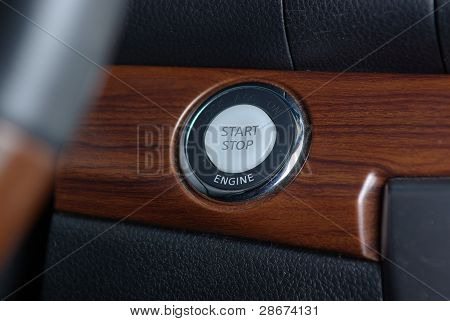Start stop engine button in car