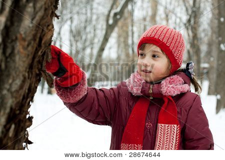 The Little Girl Is Considering A Tree