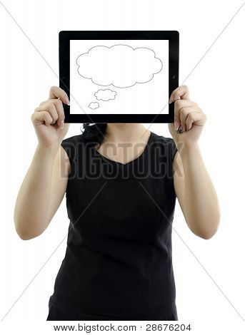 Woman Holding Tablet Pc With Cloud Thinking Concept. Isolated On White.