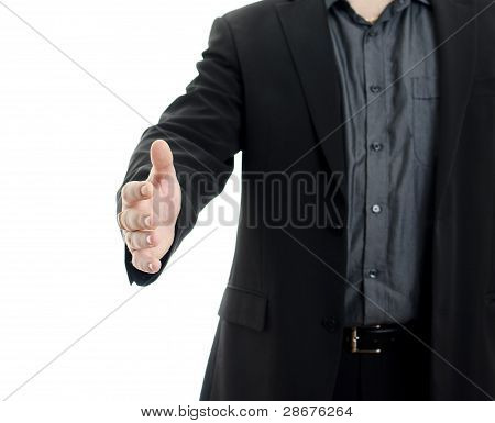 Body Of Businessman Shaking Hand, Isolated On White Background With Copy Space.
