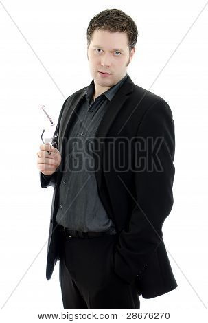 Portrait Of A Handsome Young Business Man With Glasses. Isolated On White Background With Copy Space