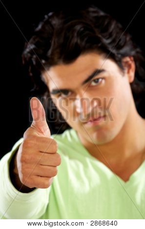 Casual Man Doing A Thumbs Up
