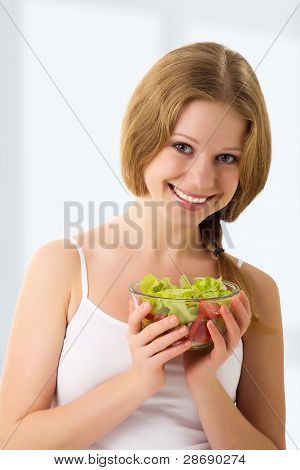 Beautiful Young Woman With Vegetable Vegetarian Salad