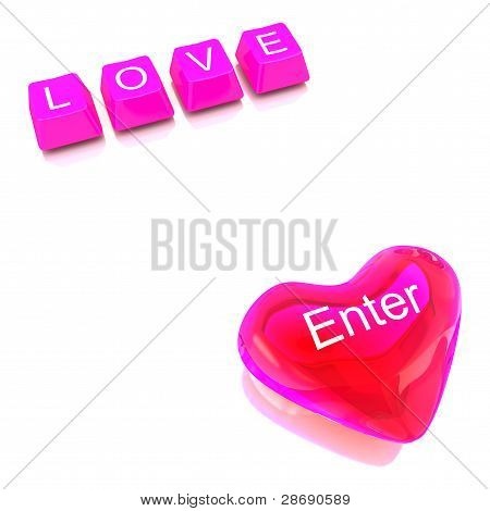 Button of computer keyboard and Transparent red color heart showing concept