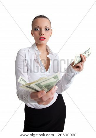 sexy business woman offer a money