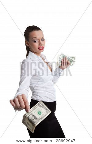 sexy business woman take a dollar with defiance