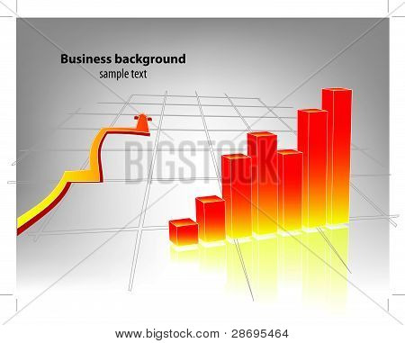 Business chart with arrow