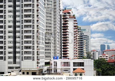 Modern Buildings Over Blue Sky Background, Bangkok City