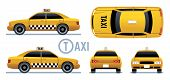 Taxi Car. Yellow Cab View From Side, Front, Back And Top. Cartoon City Taxi Vector Set. Illustration poster