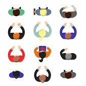 Managers Top View. Standing Or Sitting Business People Male And Female Working In Office Vector Flat poster