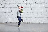 Child Boy Dancing. Cool Kid Hip Hop Break Dancing On Brick Wall Background. Little Man Movement, Exp poster