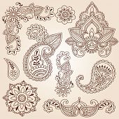 Henna Mehndi Doodles Abstract Floral Paisley Design Elements, Mandala, and Page Corner Design Vector