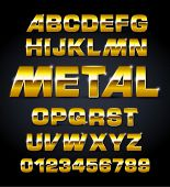 vector set of golden metallic fonts