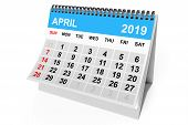 2019 Year Calendar. April Calendar On A White Background. 3d Rendering poster