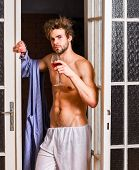 Guy Smooth Skin Wear Bathrobe. Beginning Of Great Evening. Bachelor Sexy Body. Sexy Attractive Macho poster