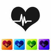 Grey Heart Rate Icon Isolated On White Background. Heartbeat Sign. Heart Pulse Icon. Cardiogram Icon poster