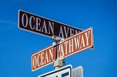 Ocean Avenue And Ocean Pathway Sign In Ocean Grove, Nj, On A Sunny Winter Day poster