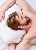 Bearded Man Sleeping Face Relaxing On Pillow. How Much Sleep You Actually Need. Man Handsome Guy Lay poster
