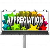 An outdoor billboard communications appreciation and recognition for an outstanding achievement and