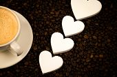 Espresso In White Coffee With Hearts And Coffee Beans. Background For Coffee. Espresso Wallpaper. De poster