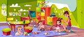 Children In Nursery School Cartoon Vector. Baby Boys Playing Toys, Female Teacher Making Pigtails To poster