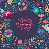 Happy Womans Day Calligraphy Design On Square Floral Background. Vector Illustration. Womans Day Gre poster