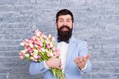 Spring Mood. Love Date. International Holiday. Spring Gift Bouquet. Bearded Man Hipster With Flower  poster