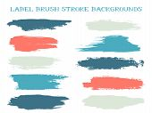Colored Label Brush Stroke Backgrounds, Paint Or Ink Smudges Vector For Tags And Stamps Design. Pain poster