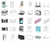 Smart Home Appliances Cartoon, Outline Icons In Set Collection For Design. Modern Household Applianc poster