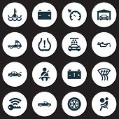 Automobile Icons Set With Garage, Airbag, Windscreen Defrost And Other Transport Cleaning Elements.  poster