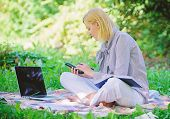 Become Successful Freelancer. Managing Business Outdoors. Woman With Laptop Sit Grass Meadow. Busine poster