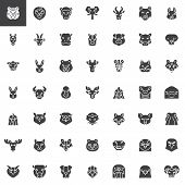 Animals Head Front View Vector Icons Set, Modern Solid Symbol Collection Filled Style Pictogram Pack poster