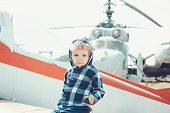 Its Time To Fly. Little Kid Have Summer Vacation. Cute Boy Child On Vacation Trip. Little Child At H poster