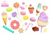 Set Isolated Sweets On White Background-candy, Ice Cream, Cotton Candy, Chocolate, Macaroon And Bisq poster