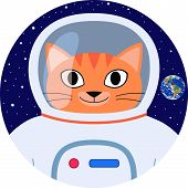 Icon Vector Orange Cat Funny Cartoon Astronaut In White Space Suit. Happy Cat Face With Space Helmet poster