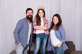 Beautiful Princess. Little Girl Love Her Parents At Home. Bearded Man And Woman With Princess Daught poster
