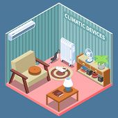Home Climate Control Isometric Composition Illustrated Living Room With Furniture And Climatic Devic poster