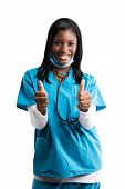 image of thumbs-up  - A happy african american nurse giving two thumbs up - JPG