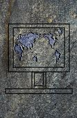 Laptop Screen With World Map On The Granit Surface poster