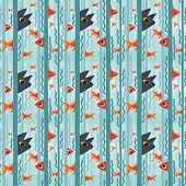 Seamless Pattern. Curious Kitty Watching Aquarium Fish Swimming Among Seaweed. Vector Illustration O poster