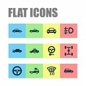 Automobile Icons Set With Crossover, Foglight, Pickup And Other Drive Control Elements. Isolated Vec poster