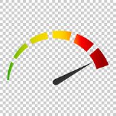 Meter Dashboard Icon In Flat Style. Credit Score Indicator Level Vector Illustration On Isolated Bac poster