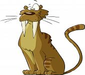picture of saber-toothed  - Saber tooth cat on a white background vector - JPG