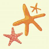 A Starfish In A Mosaic Style. Starfish On Yellow Background, Vector Clip Art. Illustrations For Summ poster