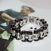 Steel Bracelet For Men. Decoration On Hand For Brutal Men. Jewelry Stainless Steel. Black And Silver poster