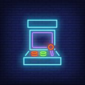 Retro Arcade Game Machine Neon Sign. Video Game And Entertainment Design. Night Bright Neon Sign, Co poster